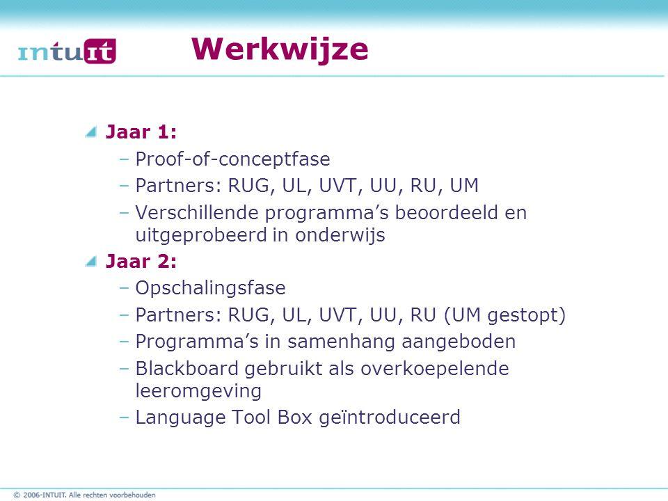 Werkwijze Jaar 1: –Proof-of-conceptfase –Partners: RUG, UL, UVT, UU, RU, UM –Verschillende programma's beoordeeld en uitgeprobeerd in onderwijs Jaar 2
