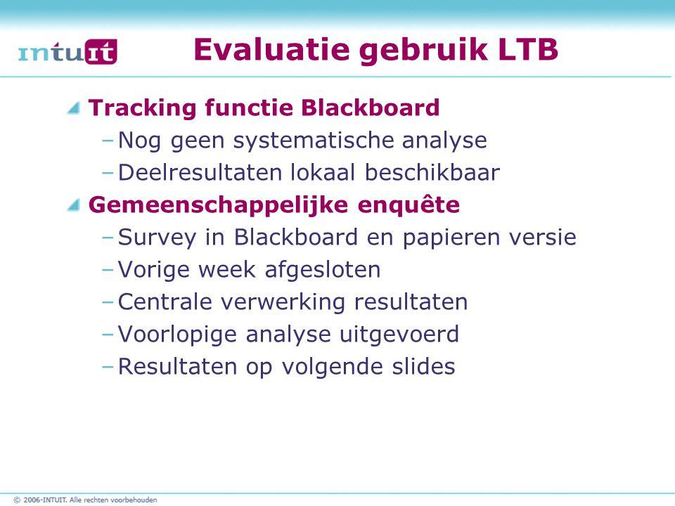 Evaluatie gebruik LTB Tracking functie Blackboard –Nog geen systematische analyse –Deelresultaten lokaal beschikbaar Gemeenschappelijke enquête –Surve