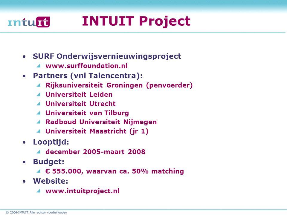 INTUIT Project SURF Onderwijsvernieuwingsproject www.surffoundation.nl Partners (vnl Talencentra): Rijksuniversiteit Groningen (penvoerder) Universite