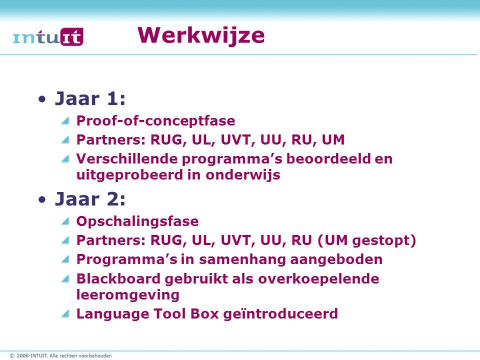 Werkwijze Jaar 1: Proof-of-conceptfase Partners: RUG, UL, UVT, UU, RU, UM Verschillende programma's beoordeeld en uitgeprobeerd in onderwijs Jaar 2: Opschalingsfase Partners: RUG, UL, UVT, UU, RU (UM gestopt) Programma's in samenhang aangeboden Blackboard gebruikt als overkoepelende leeromgeving Language Tool Box geïntroduceerd