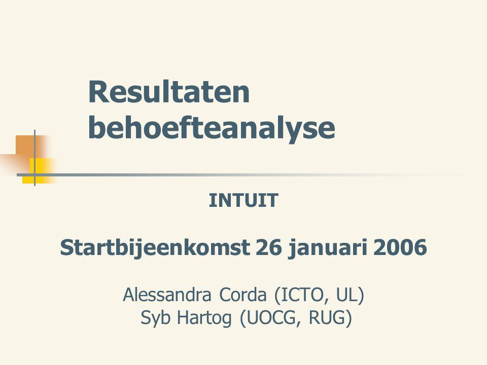 Resultaten behoefteanalyse INTUIT Startbijeenkomst 26 januari 2006 Alessandra Corda (ICTO, UL) Syb Hartog (UOCG, RUG)