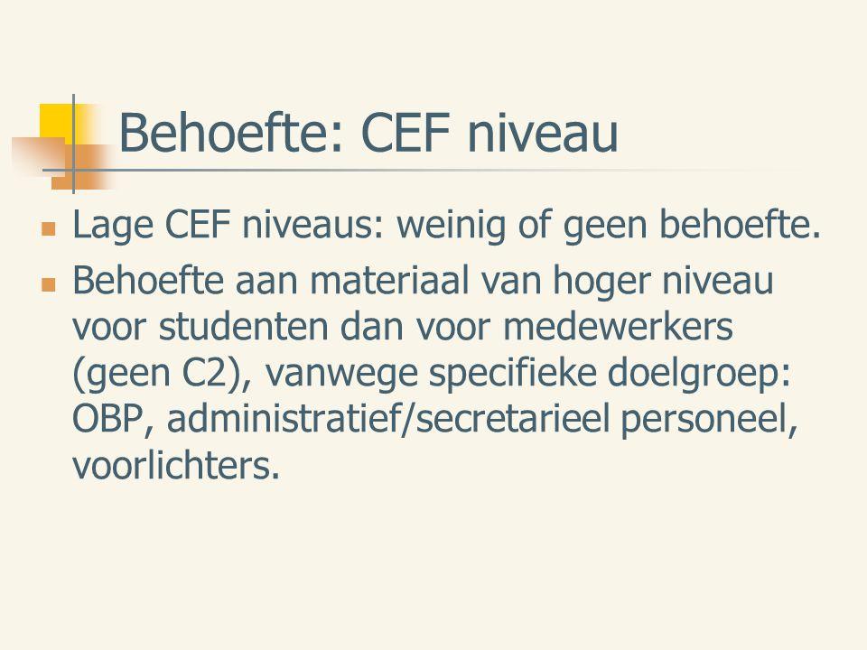 Behoefte: CEF niveau Lage CEF niveaus: weinig of geen behoefte.