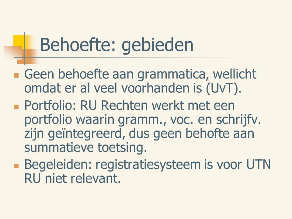 Behoefte: gebieden Geen behoefte aan grammatica, wellicht omdat er al veel voorhanden is (UvT).