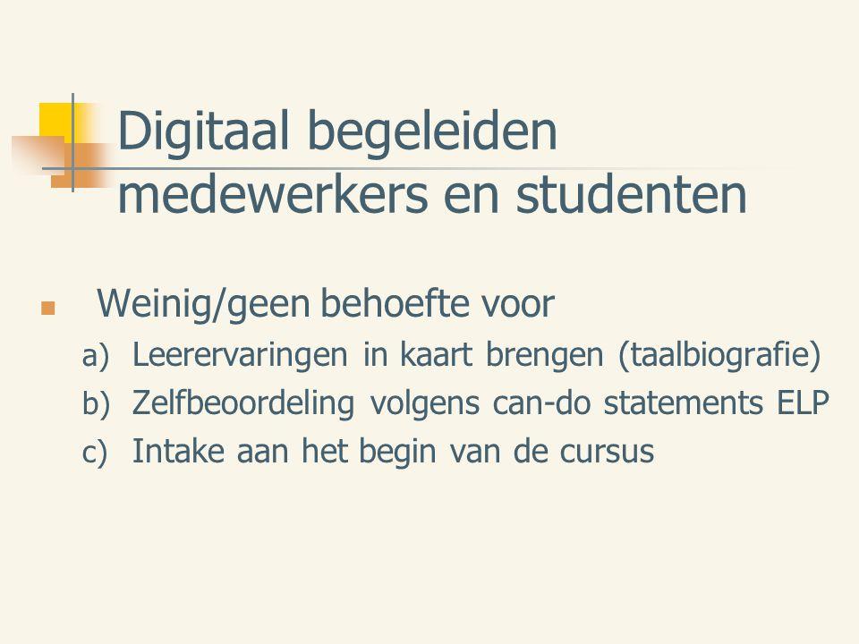Digitaal begeleiden medewerkers en studenten Weinig/geen behoefte voor a) Leerervaringen in kaart brengen (taalbiografie) b) Zelfbeoordeling volgens can-do statements ELP c) Intake aan het begin van de cursus