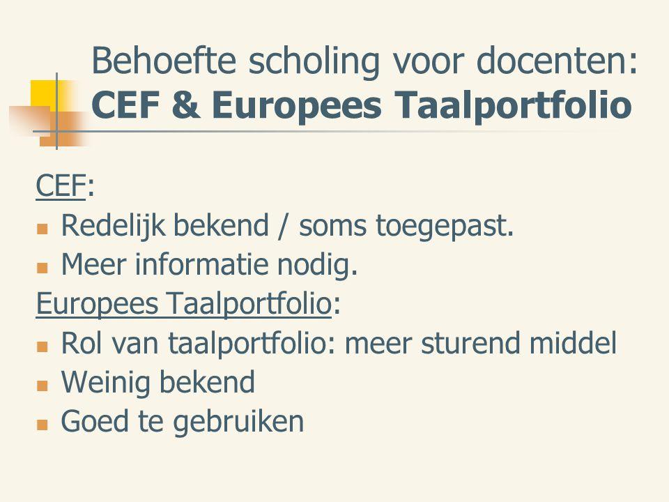 Behoefte scholing voor docenten: CEF & Europees Taalportfolio CEF: Redelijk bekend / soms toegepast.