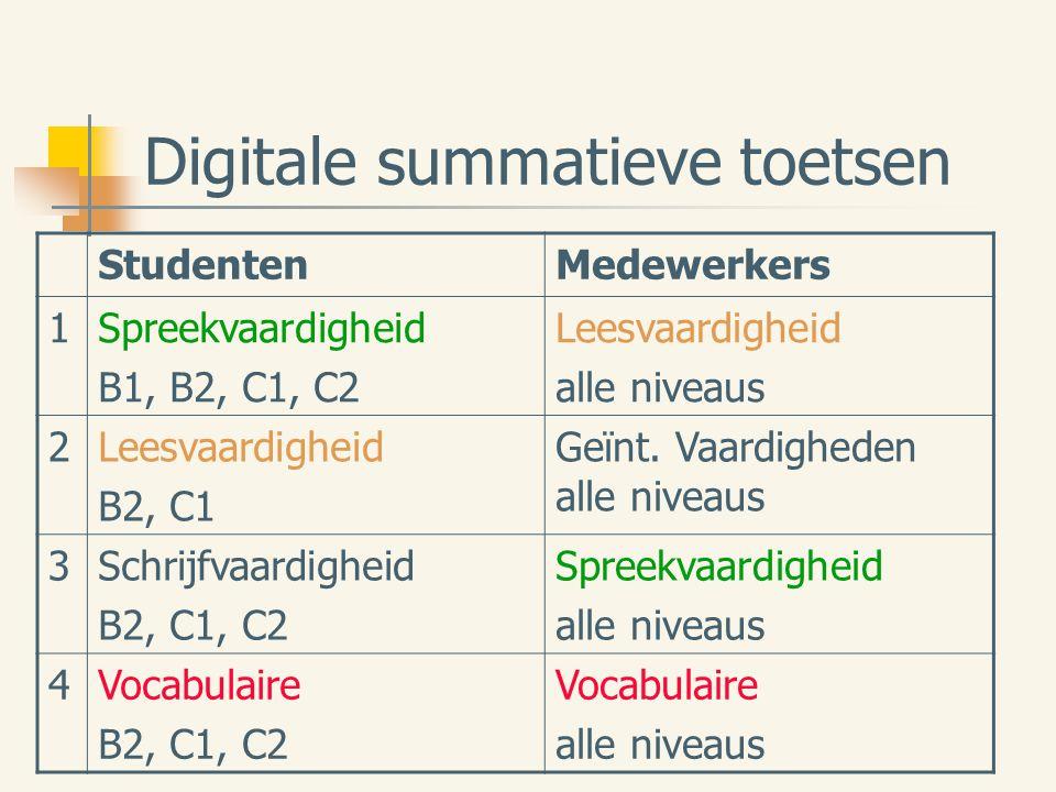Digitale summatieve toetsen StudentenMedewerkers 1Spreekvaardigheid B1, B2, C1, C2 Leesvaardigheid alle niveaus 2Leesvaardigheid B2, C1 Geïnt.