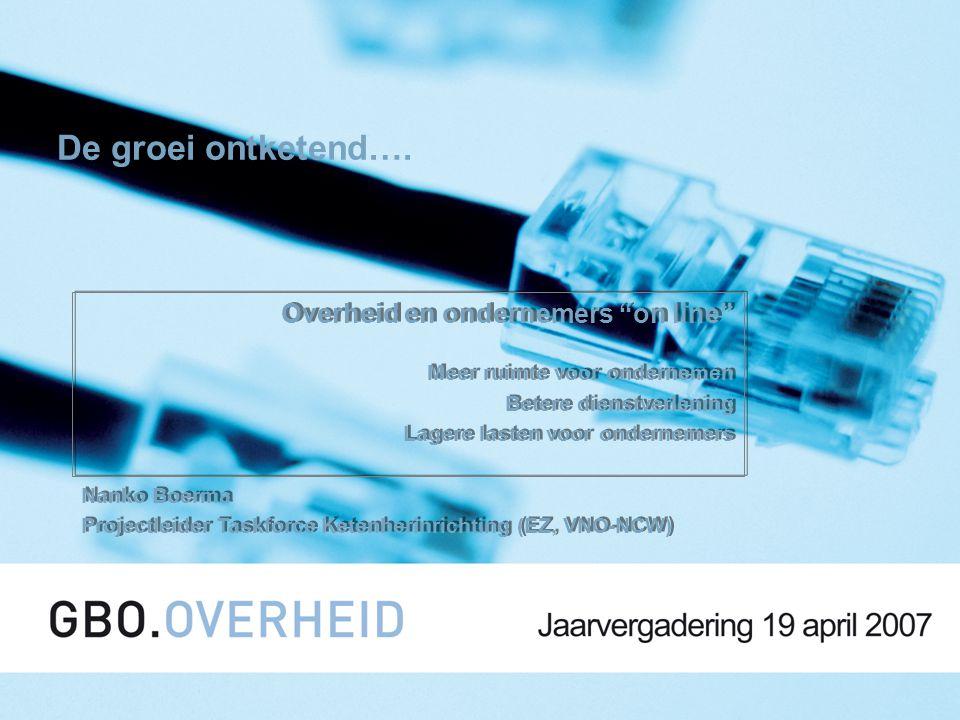 "1 De groei ontketend…. Overheid en ondernemers ""on line"" Meer ruimte voor ondernemen Betere dienstverlening Lagere lasten voor ondernemers Nanko Boerm"