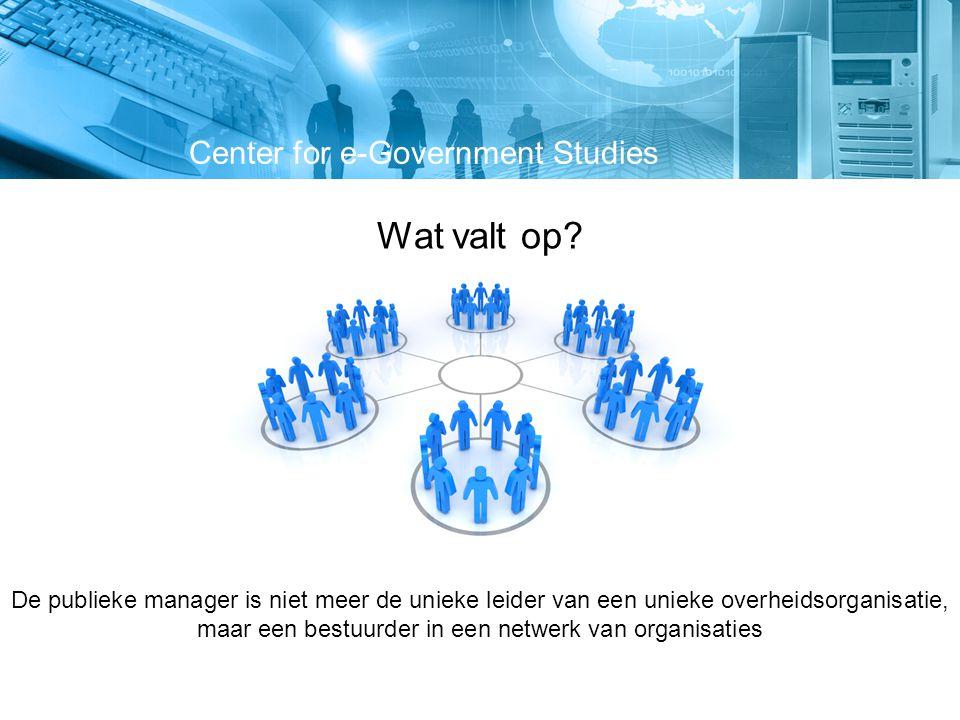 Center for e-Government Studies Botsing van drie karakteristieke sturingswijzen HiërarchieNetwerkMarkt