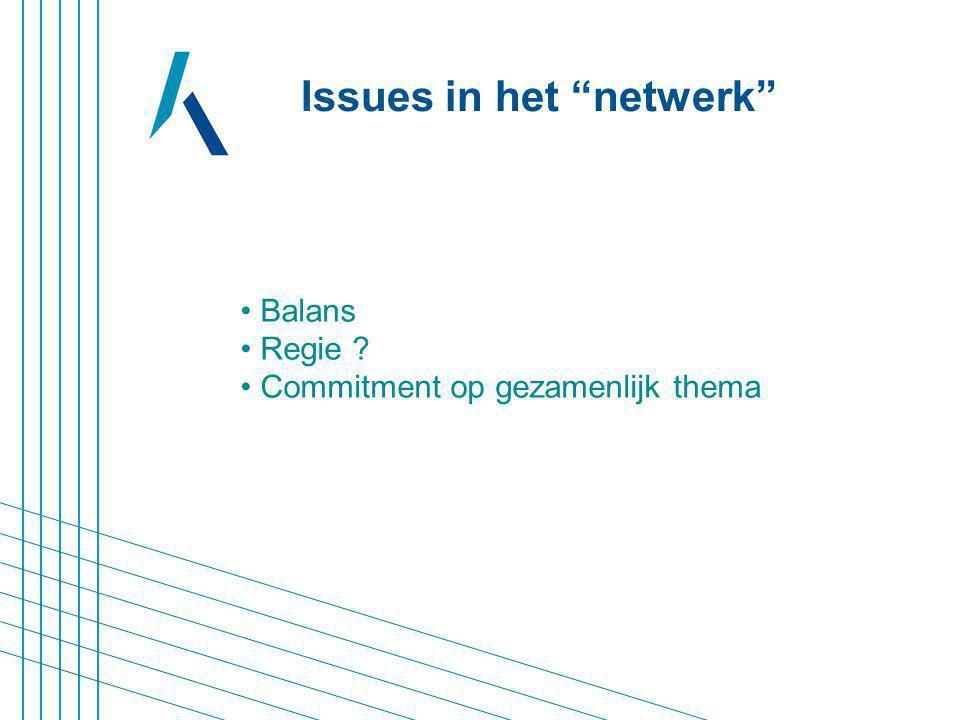Balans Regie ? Commitment op gezamenlijk thema Issues in het netwerk