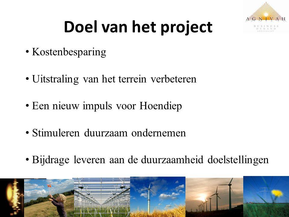 Doel van het project Kostenbesparing Uitstraling van het terrein verbeteren Een nieuw impuls voor Hoendiep Stimuleren duurzaam ondernemen Bijdrage lev