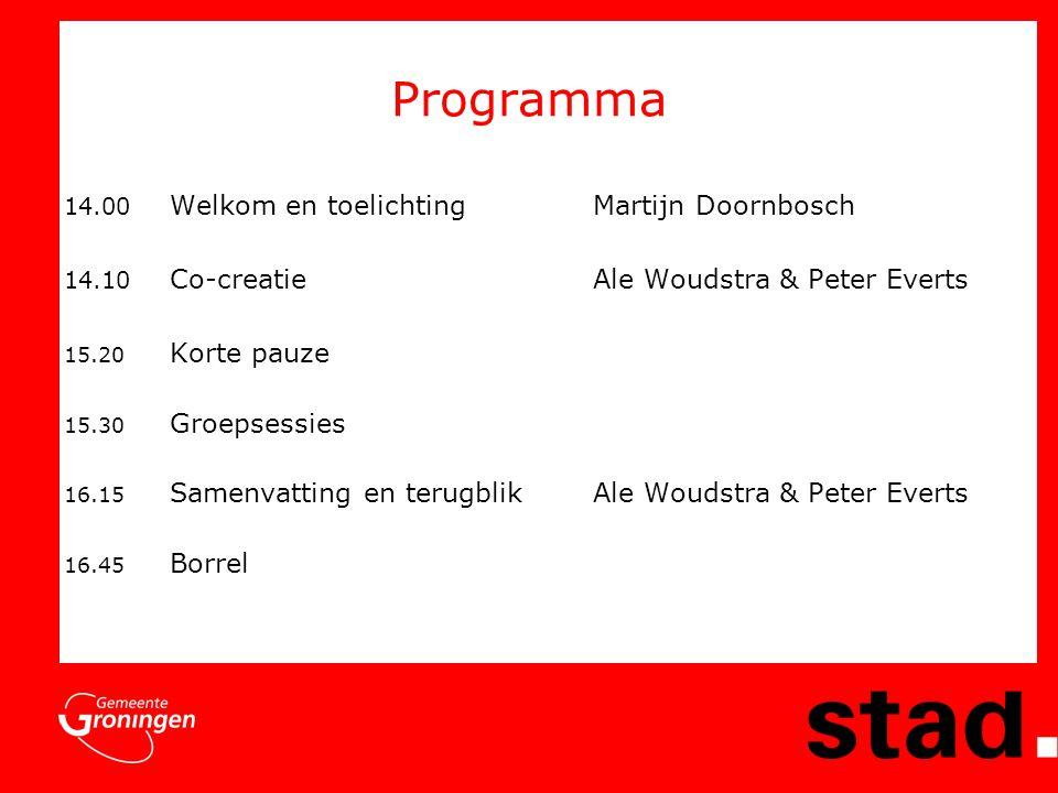 Programma 14.00 Welkom en toelichting Martijn Doornbosch 14.10 Co-creatieAle Woudstra & Peter Everts 15.20 Korte pauze 15.30 Groepsessies 16.15 Samenv
