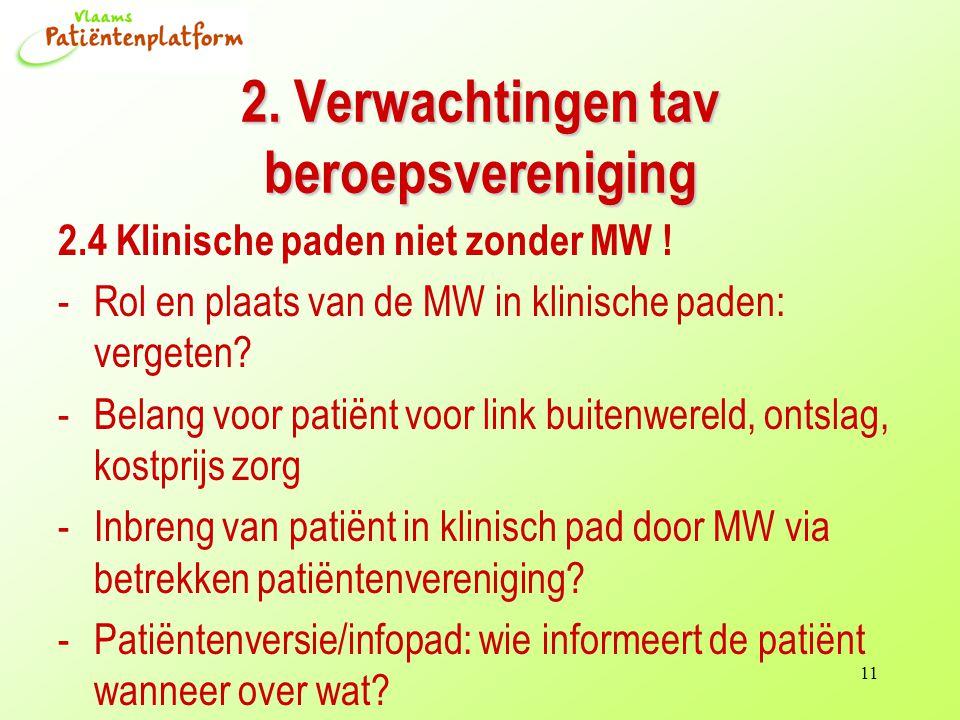 11 2. Verwachtingen tav beroepsvereniging 2.4 Klinische paden niet zonder MW .