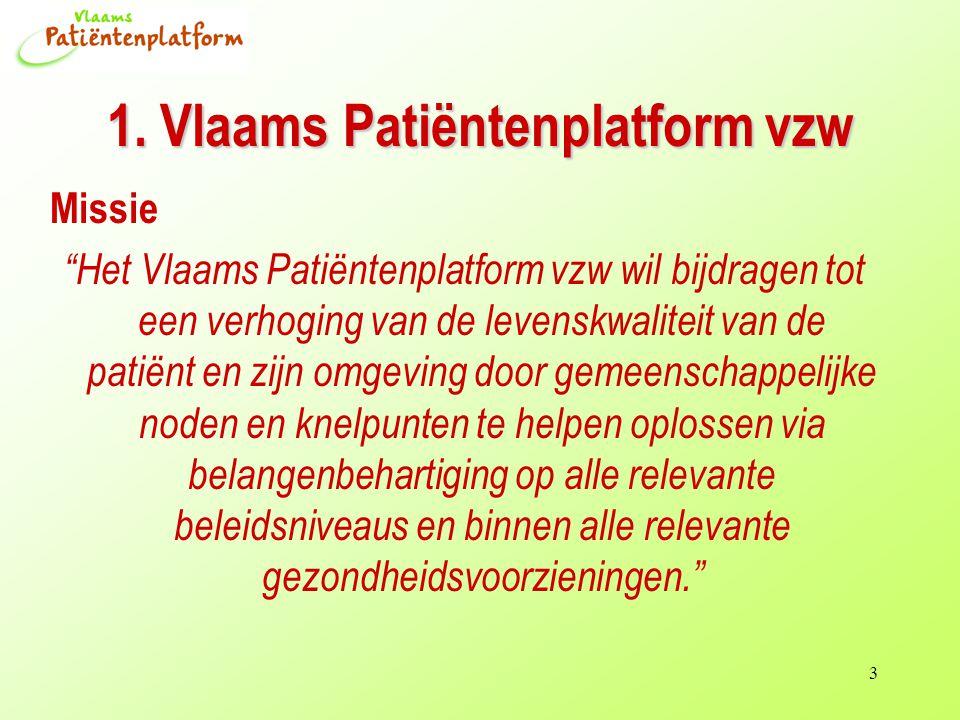 """3 1. Vlaams Patiëntenplatform vzw Missie """"Het Vlaams Patiëntenplatform vzw wil bijdragen tot een verhoging van de levenskwaliteit van de patiënt en zi"""