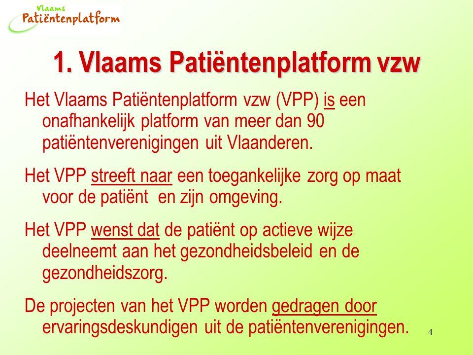 4 1. Vlaams Patiëntenplatform vzw Het Vlaams Patiëntenplatform vzw (VPP) is een onafhankelijk platform van meer dan 90 patiëntenverenigingen uit Vlaan