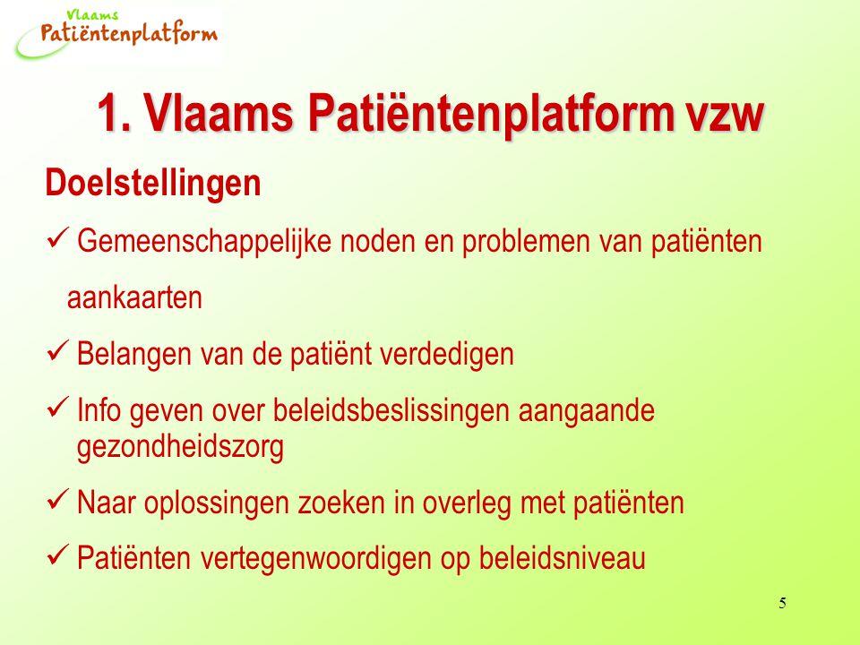 5 1. Vlaams Patiëntenplatform vzw Doelstellingen Gemeenschappelijke noden en problemen van patiënten aankaarten Belangen van de patiënt verdedigen Inf