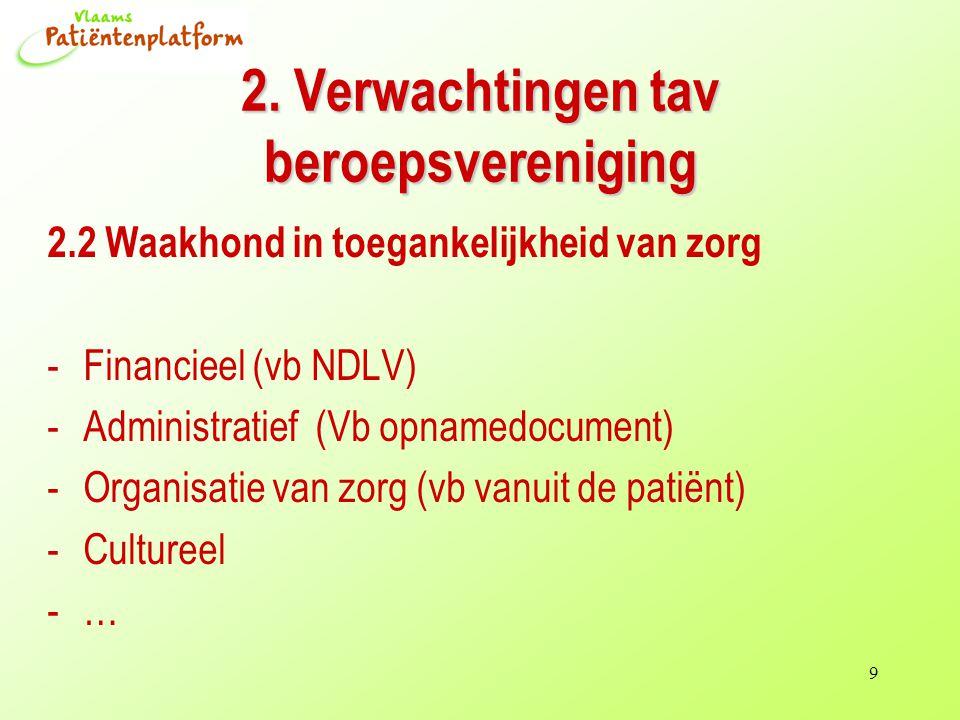 9 2.2 Waakhond in toegankelijkheid van zorg -Financieel (vb NDLV) -Administratief (Vb opnamedocument) -Organisatie van zorg (vb vanuit de patiënt) -Cultureel -… 2.