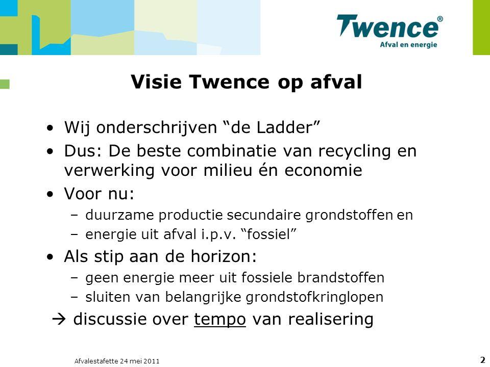Afvalestafette 24 mei 2011 2 Visie Twence op afval Wij onderschrijven de Ladder Dus: De beste combinatie van recycling en verwerking voor milieu én economie Voor nu: –duurzame productie secundaire grondstoffen en –energie uit afval i.p.v.