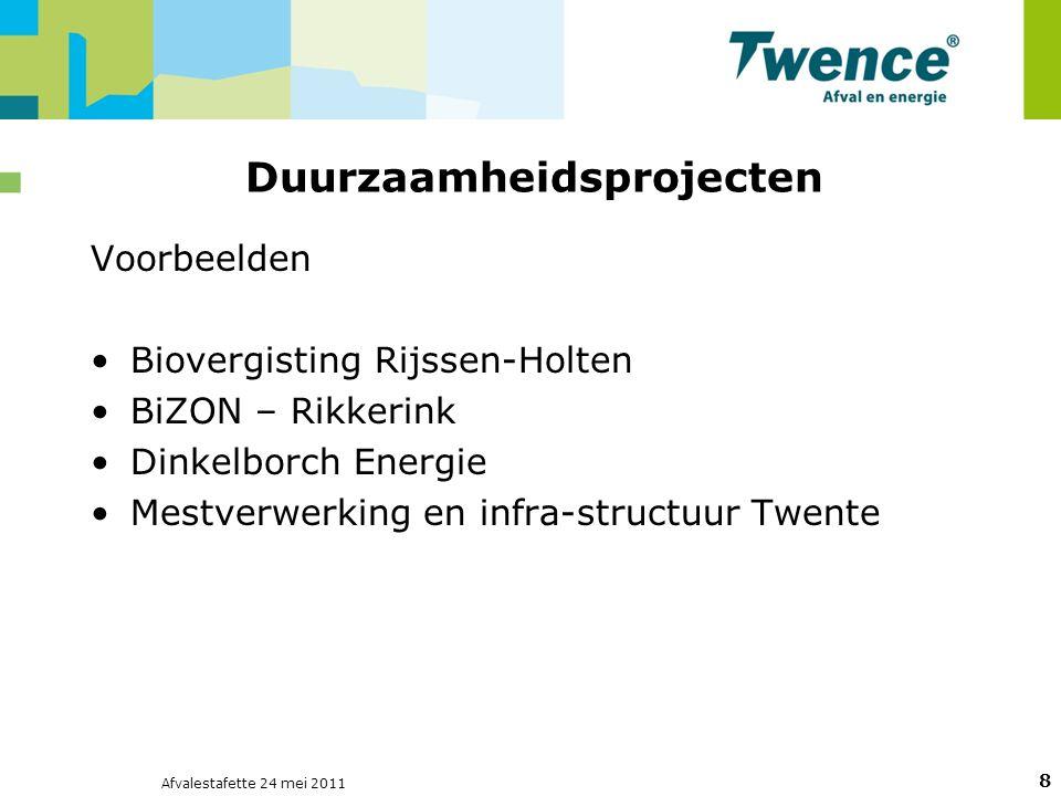 Afvalestafette 24 mei 2011 8 Duurzaamheidsprojecten Voorbeelden Biovergisting Rijssen-Holten BiZON – Rikkerink Dinkelborch Energie Mestverwerking en infra-structuur Twente