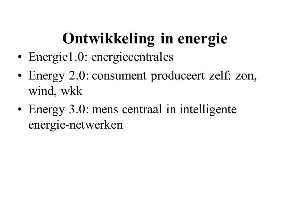 Ontwikkeling in energie Energie1.0: energiecentrales Energy 2.0: consument produceert zelf: zon, wind, wkk Energy 3.0: mens centraal in intelligente e