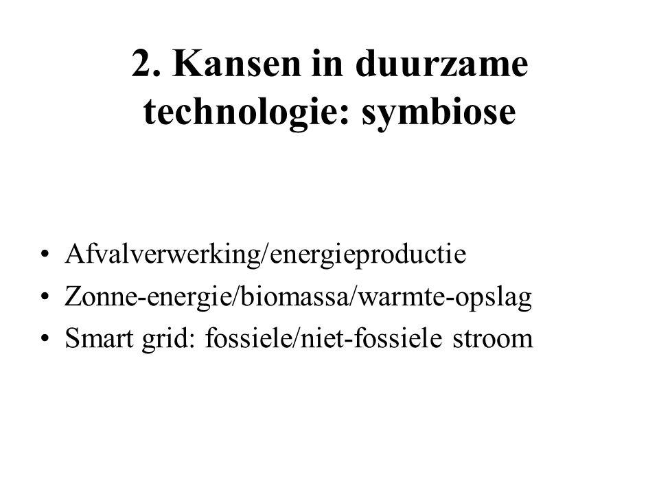 2. Kansen in duurzame technologie: symbiose Afvalverwerking/energieproductie Zonne-energie/biomassa/warmte-opslag Smart grid: fossiele/niet-fossiele s
