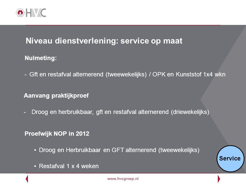 Niveau dienstverlening: service op maat Nulmeting: -Gft en restafval alternerend (tweewekelijks) / OPK en Kunststof 1x4 wkn Service Proefwijk NOP in 2
