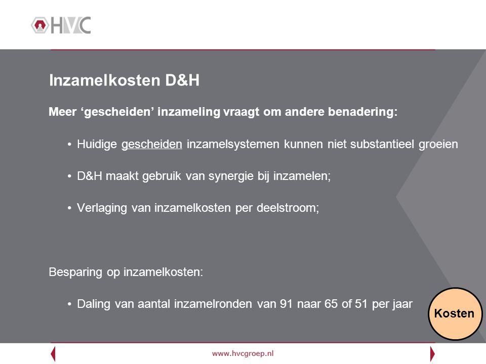 Inzamelkosten D&H Meer 'gescheiden' inzameling vraagt om andere benadering: Huidige gescheiden inzamelsystemen kunnen niet substantieel groeien D&H ma