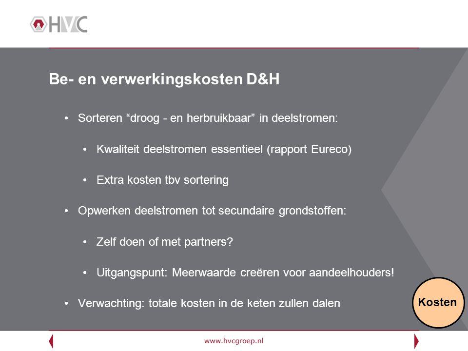 """Be- en verwerkingskosten D&H Sorteren """"droog - en herbruikbaar"""" in deelstromen: Kwaliteit deelstromen essentieel (rapport Eureco) Extra kosten tbv sor"""