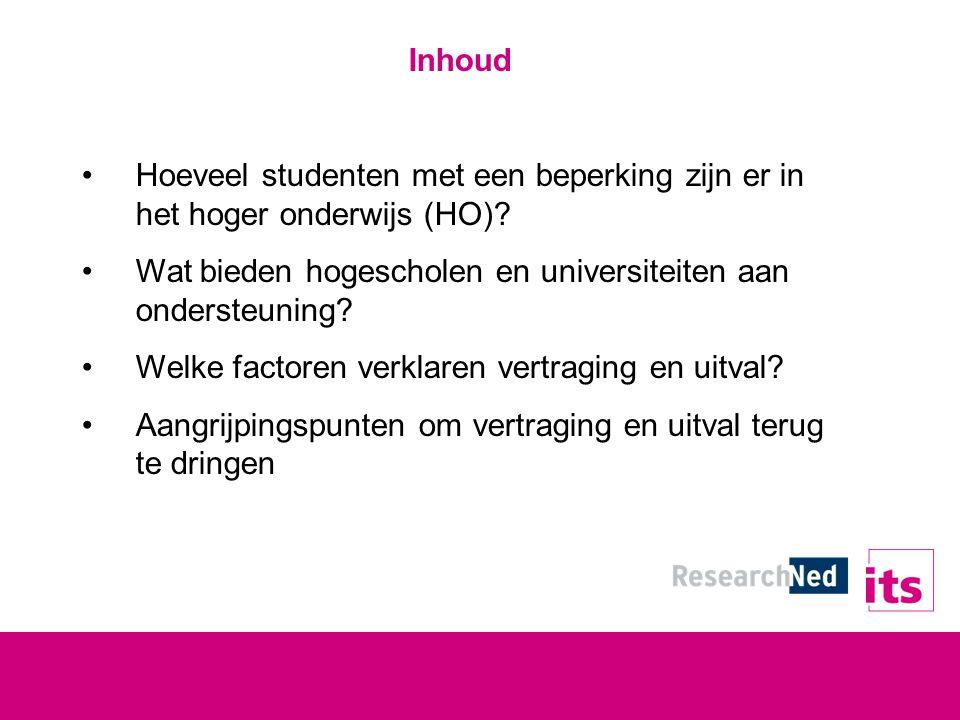 Inhoud Hoeveel studenten met een beperking zijn er in het hoger onderwijs (HO).