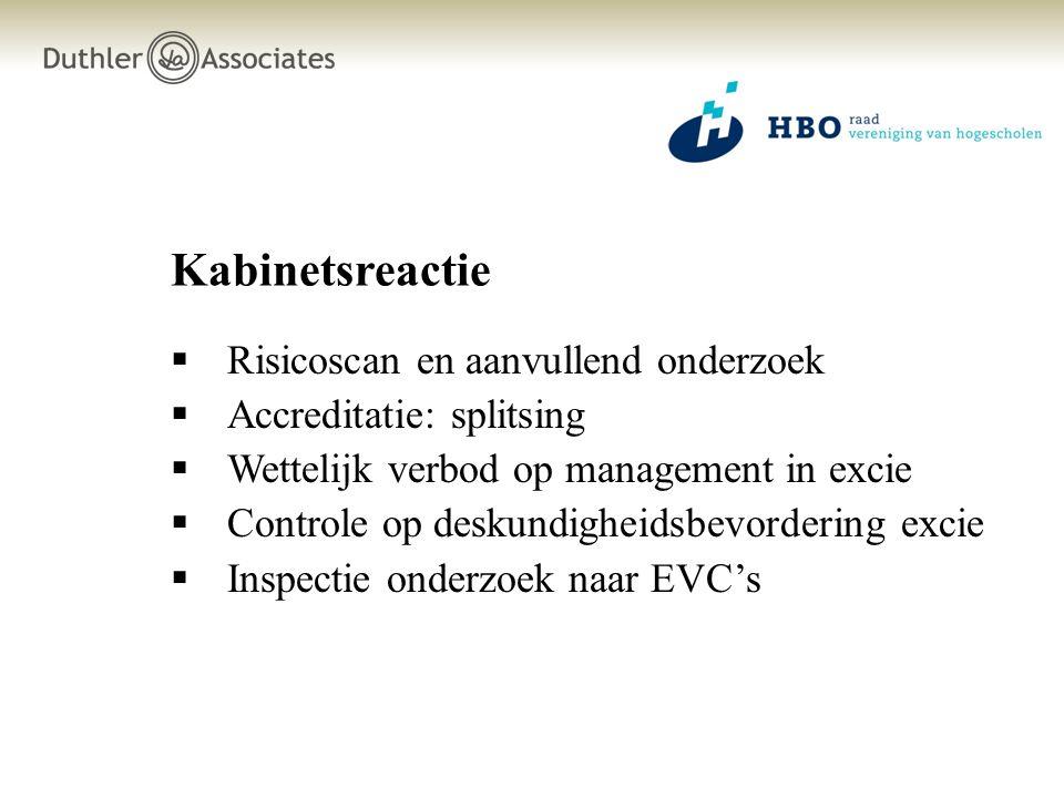 Kabinetsreactie  Risicoscan en aanvullend onderzoek  Accreditatie: splitsing  Wettelijk verbod op management in excie  Controle op deskundigheidsb