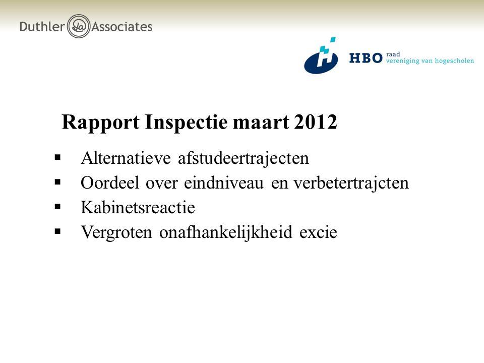 Rapport Inspectie maart 2012  Alternatieve afstudeertrajecten  Oordeel over eindniveau en verbetertrajcten  Kabinetsreactie  Vergroten onafhankeli