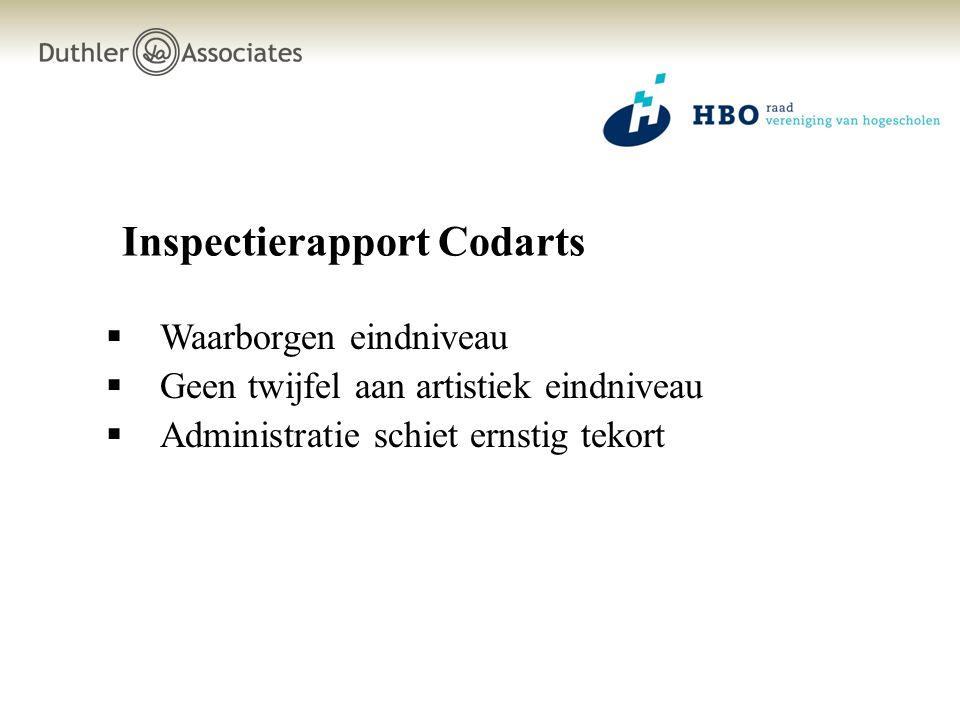 Inspectierapport Codarts  Waarborgen eindniveau  Geen twijfel aan artistiek eindniveau  Administratie schiet ernstig tekort
