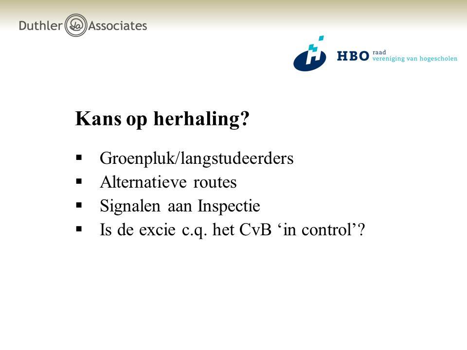 Kans op herhaling?  Groenpluk/langstudeerders  Alternatieve routes  Signalen aan Inspectie  Is de excie c.q. het CvB 'in control'?