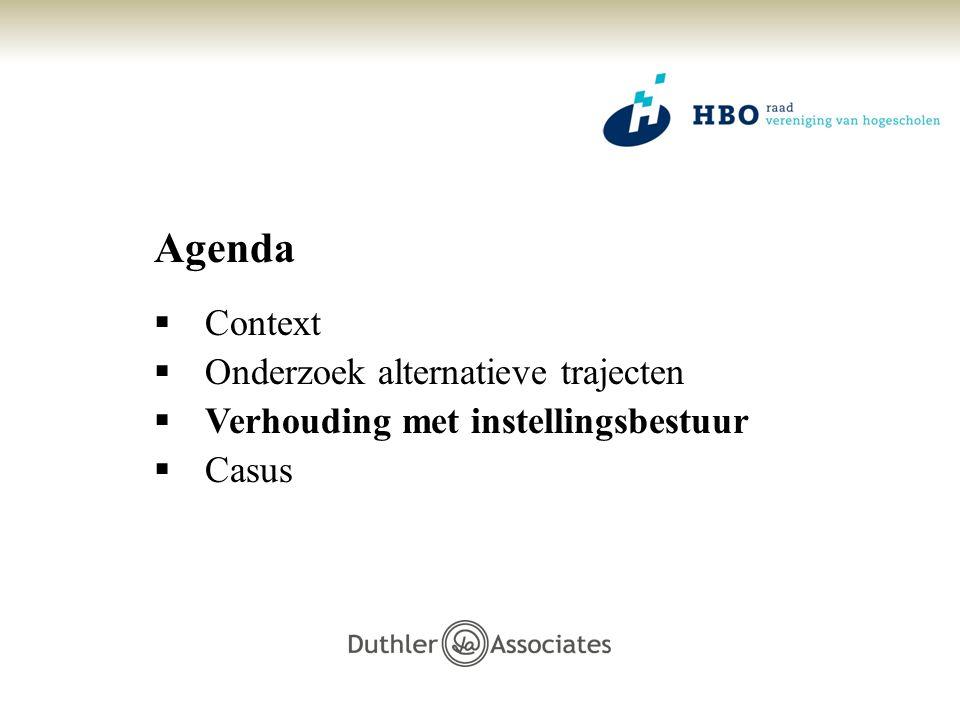 Agenda  Context  Onderzoek alternatieve trajecten  Verhouding met instellingsbestuur  Casus