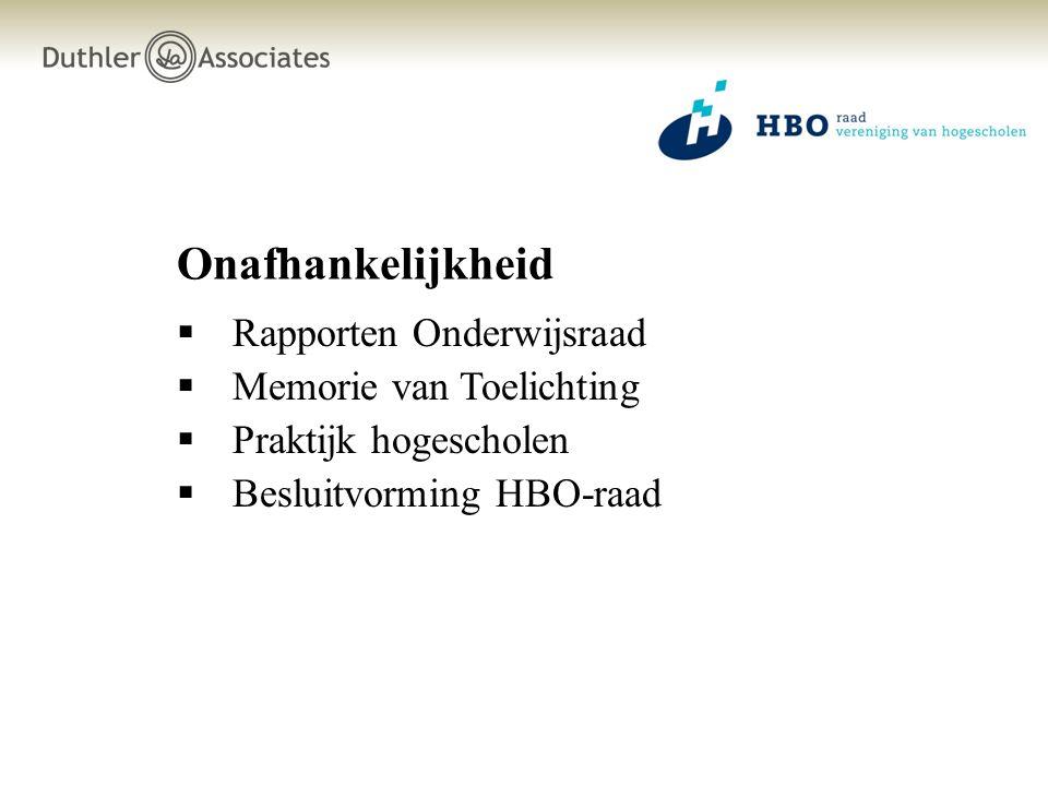 Onafhankelijkheid  Rapporten Onderwijsraad  Memorie van Toelichting  Praktijk hogescholen  Besluitvorming HBO-raad