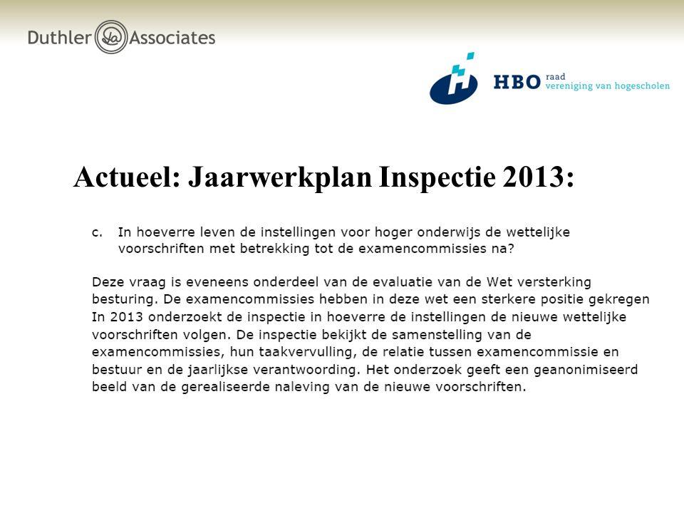 Actueel: Jaarwerkplan Inspectie 2013: