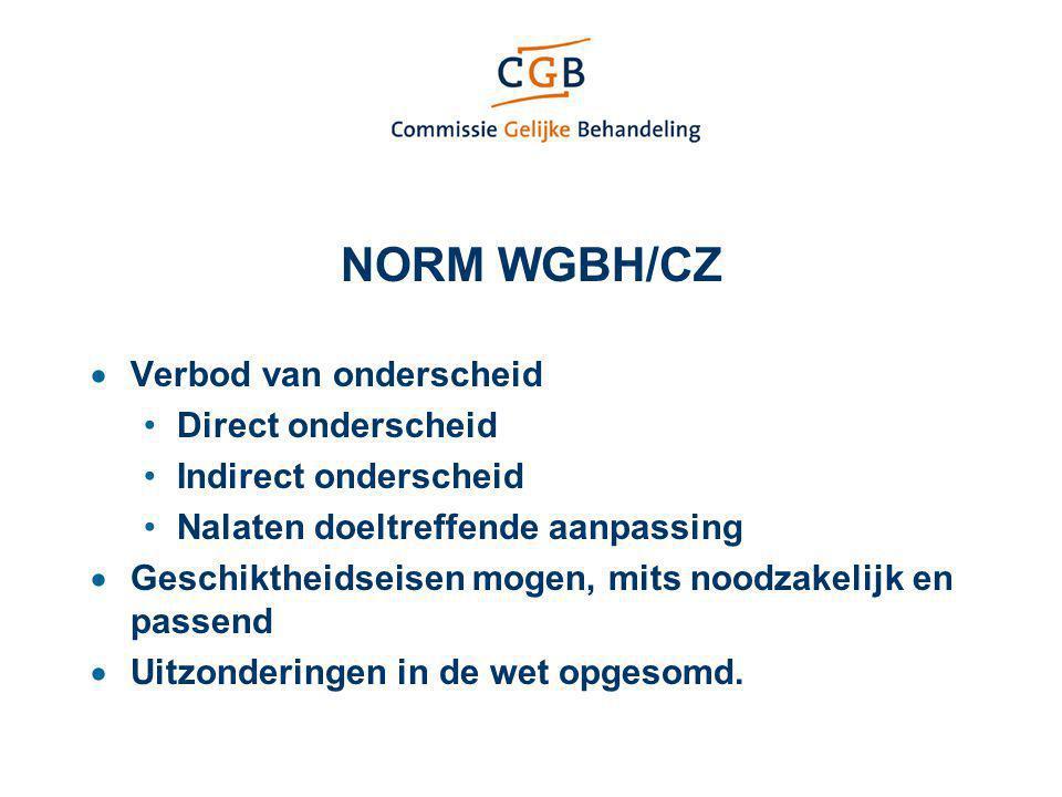 NORM WGBH/CZ  Verbod van onderscheid Direct onderscheid Indirect onderscheid Nalaten doeltreffende aanpassing  Geschiktheidseisen mogen, mits noodza