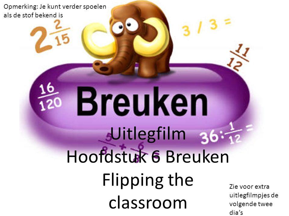 Uitlegfilm Hoofdstuk 6 Breuken Flipping the classroom Opmerking: Je kunt verder spoelen als de stof bekend is Zie voor extra uitlegfilmpjes de volgende twee dia's