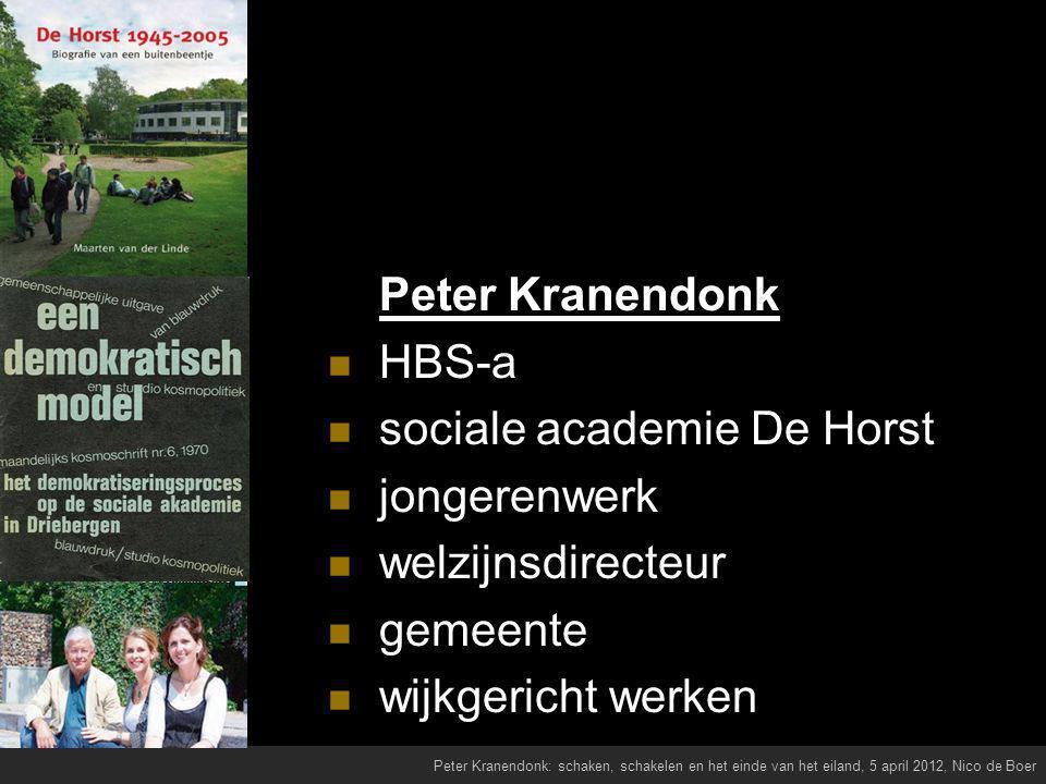 Peter Kranendonk HBS-a sociale academie De Horst jongerenwerk welzijnsdirecteur gemeente wijkgericht werken Peter Kranendonk: schaken, schakelen en het einde van het eiland, 5 april 2012, Nico de Boer