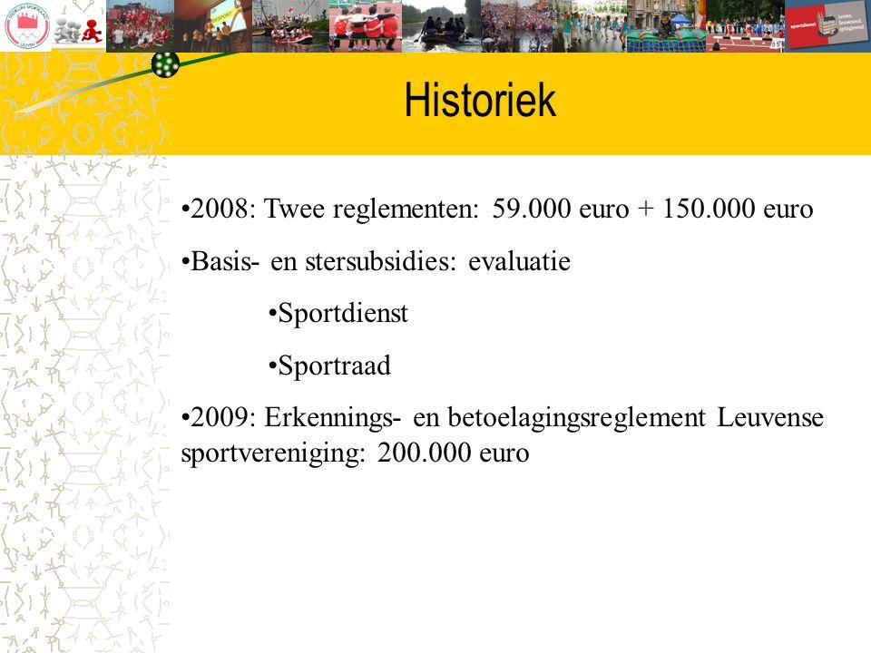 Historiek 2008: Twee reglementen: 59.000 euro + 150.000 euro Basis- en stersubsidies: evaluatie Sportdienst Sportraad 2009: Erkennings- en betoelaging