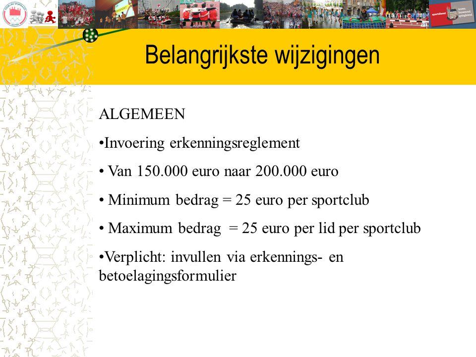 Belangrijkste wijzigingen ALGEMEEN Invoering erkenningsreglement Van 150.000 euro naar 200.000 euro Minimum bedrag = 25 euro per sportclub Maximum bed