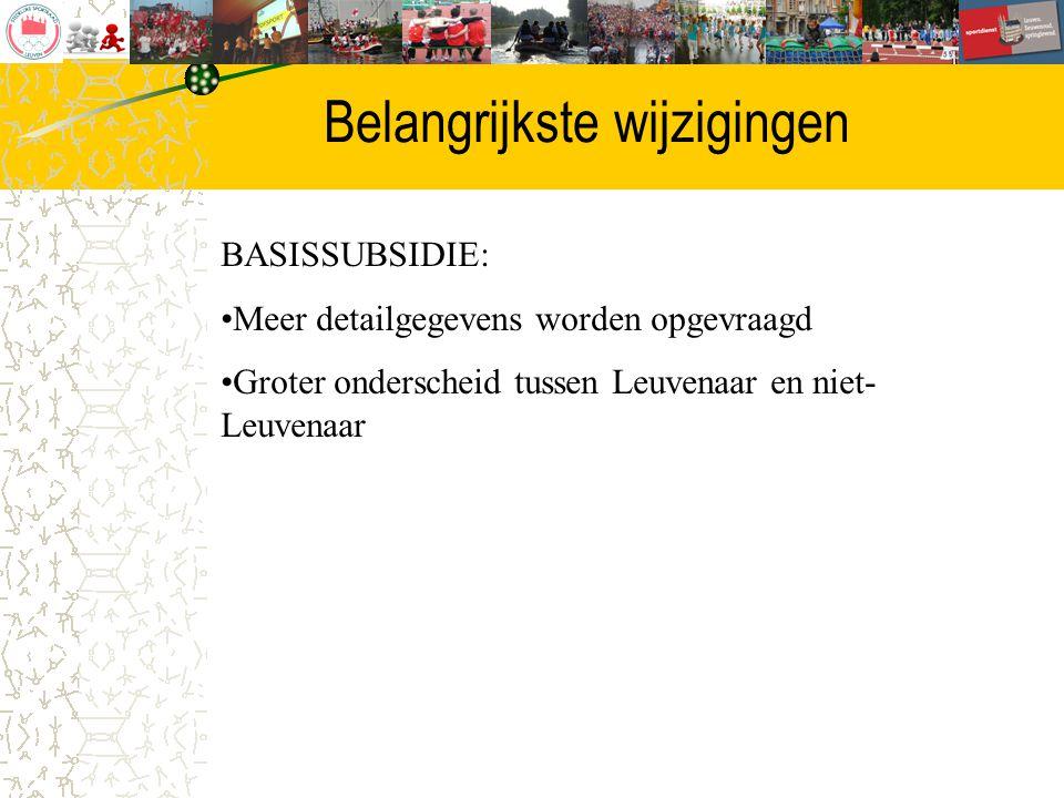 Belangrijkste wijzigingen BASISSUBSIDIE: Meer detailgegevens worden opgevraagd Groter onderscheid tussen Leuvenaar en niet- Leuvenaar