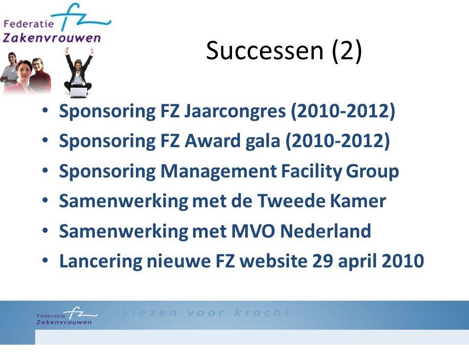 Successen (2) Sponsoring FZ Jaarcongres (2010-2012) Sponsoring FZ Award gala (2010-2012) Sponsoring Management Facility Group Samenwerking met de Tweede Kamer Samenwerking met MVO Nederland Lancering nieuwe FZ website 29 april 2010