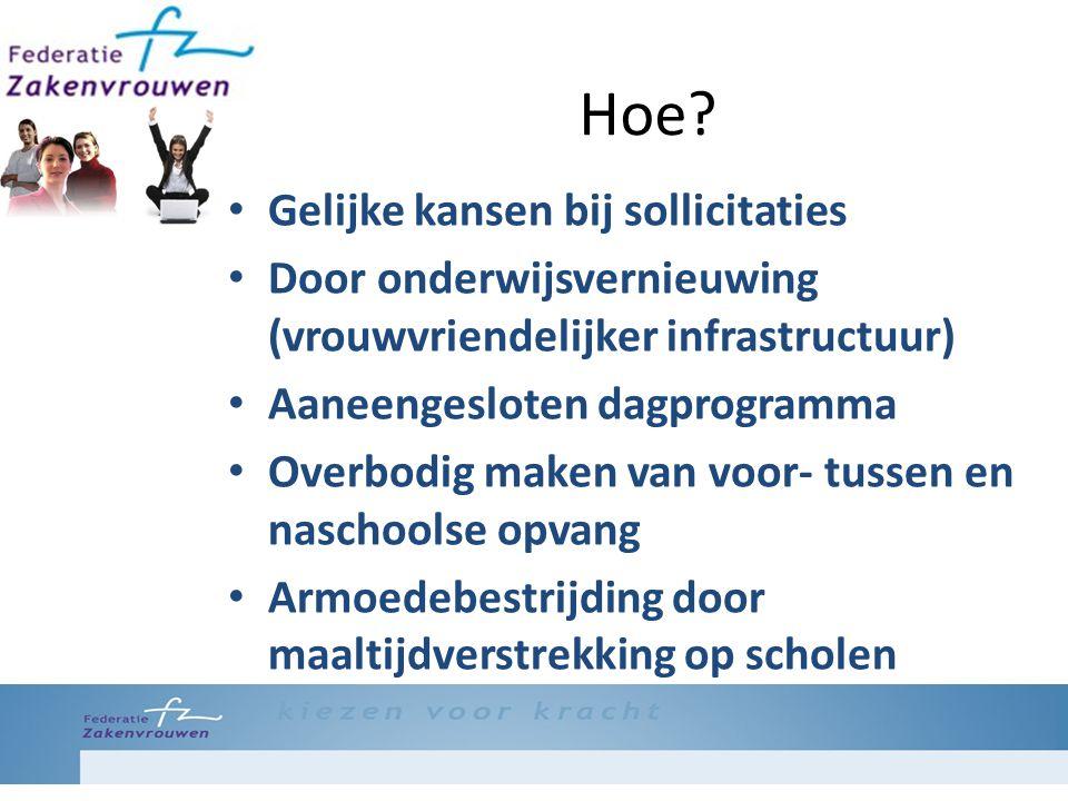 Hoe? Gelijke kansen bij sollicitaties Door onderwijsvernieuwing (vrouwvriendelijker infrastructuur) Aaneengesloten dagprogramma Overbodig maken van vo