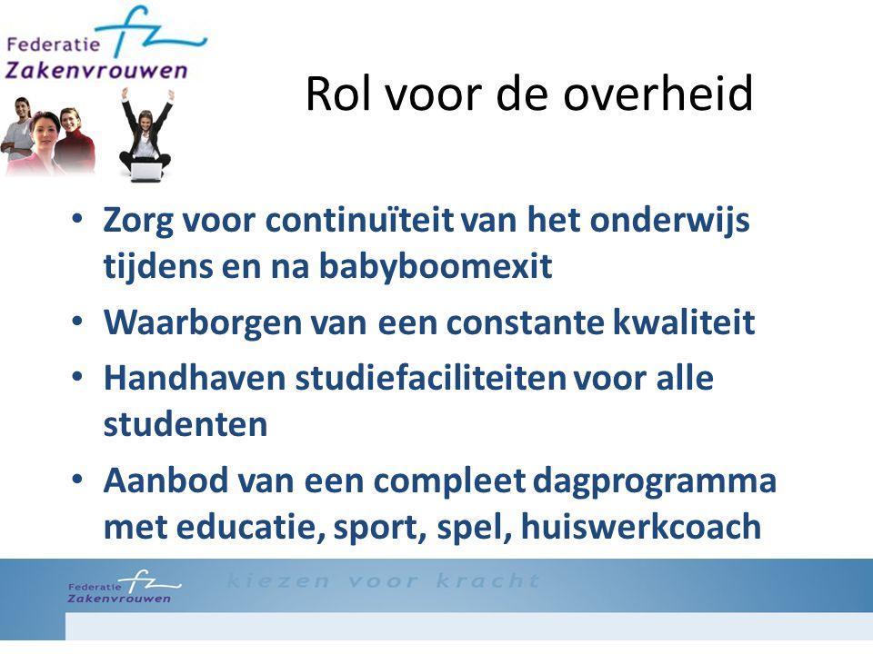 Rol voor de overheid Zorg voor continuïteit van het onderwijs tijdens en na babyboomexit Waarborgen van een constante kwaliteit Handhaven studiefacili