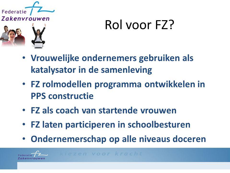 Rol voor FZ? Vrouwelijke ondernemers gebruiken als katalysator in de samenleving FZ rolmodellen programma ontwikkelen in PPS constructie FZ als coach