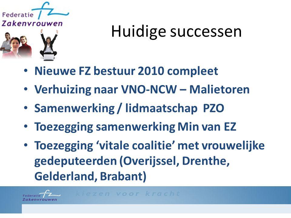 Huidige successen Nieuwe FZ bestuur 2010 compleet Verhuizing naar VNO-NCW – Malietoren Samenwerking / lidmaatschap PZO Toezegging samenwerking Min van