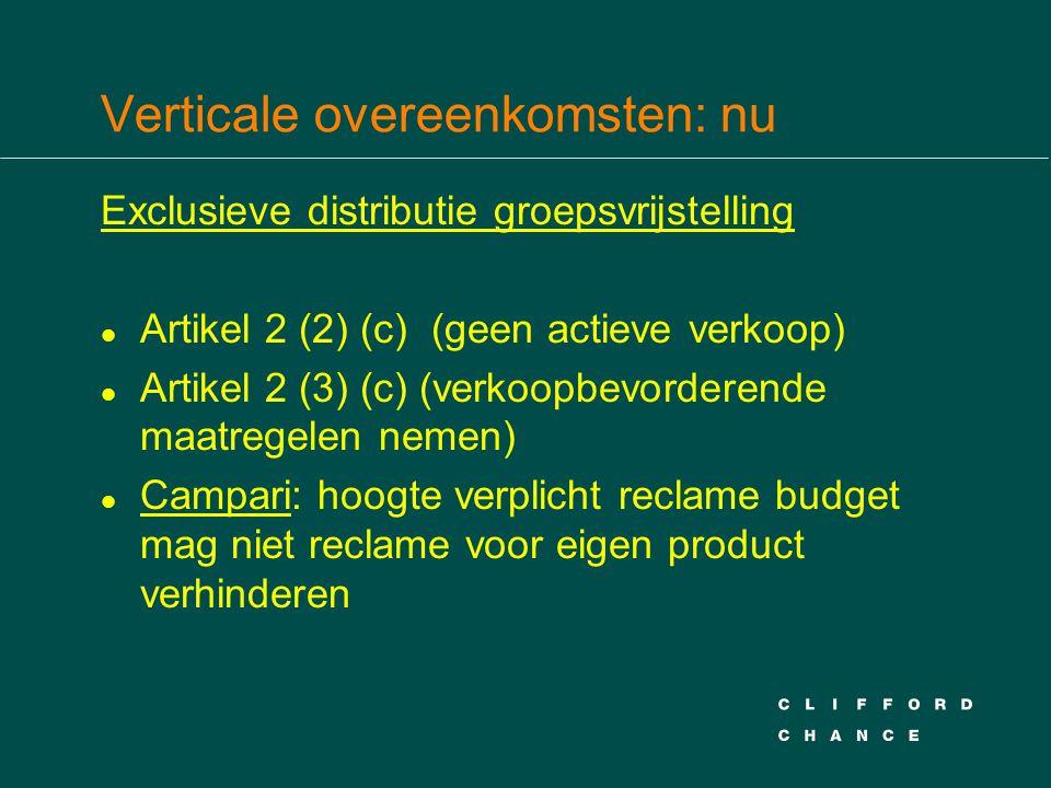 Verticale overeenkomsten: nu Exclusieve distributie groepsvrijstelling l Artikel 2 (2) (c) (geen actieve verkoop) l Artikel 2 (3) (c) (verkoopbevorder