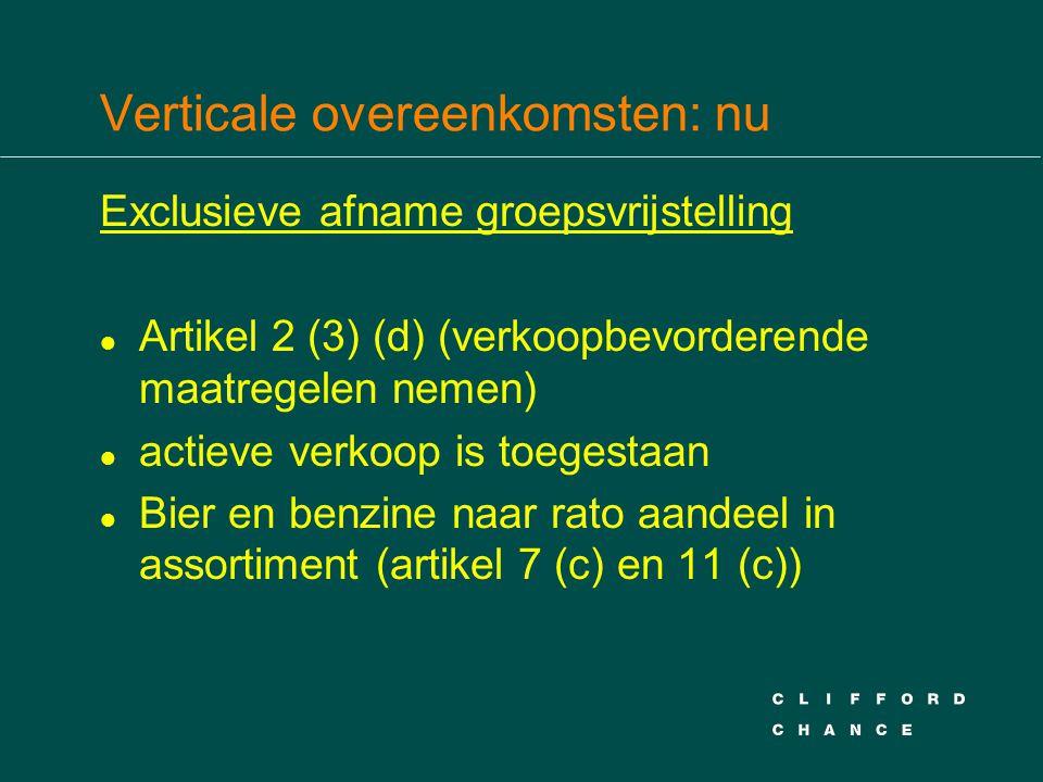Verticale overeenkomsten: nu Exclusieve afname groepsvrijstelling l Artikel 2 (3) (d) (verkoopbevorderende maatregelen nemen) l actieve verkoop is toe