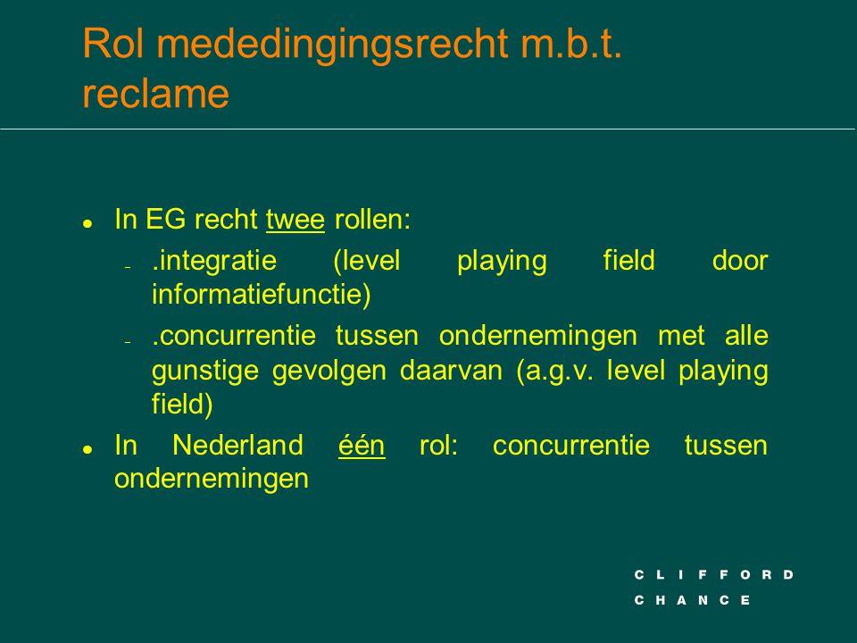 Rol mededingingsrecht m.b.t. reclame l In EG recht twee rollen: –.integratie (level playing field door informatiefunctie) –.concurrentie tussen ondern