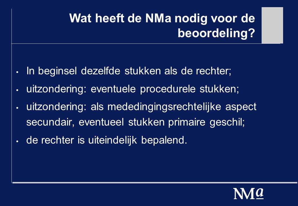Wat heeft de NMa nodig voor de beoordeling.